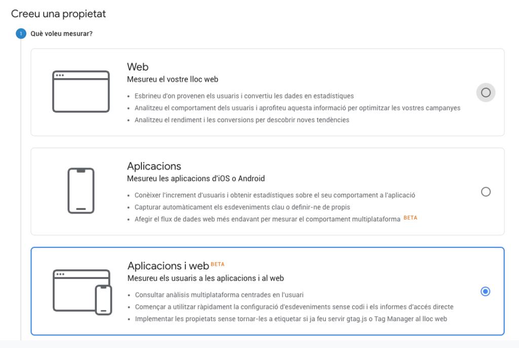 Panell de creació d'un projecte a Google Analytics 2019