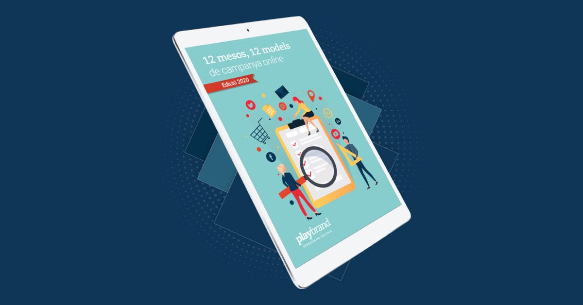 """Portada de l'ebook """"12 mesos, 12 models de publicitat online""""."""