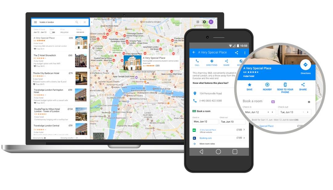 Google Promoted Hotels en dispositiu mòbil i ordinador portàtil